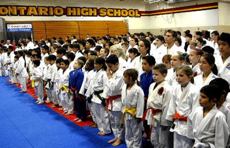 Junior judo competitors line up at the USJA Winter Nationals