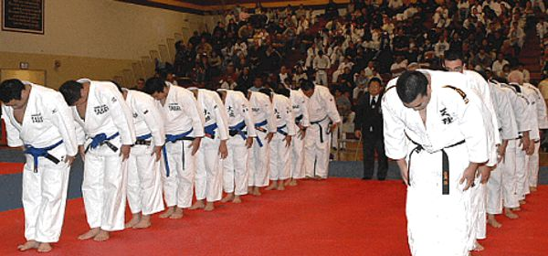 The Team from Japan and the U.S. bowing in before their contest