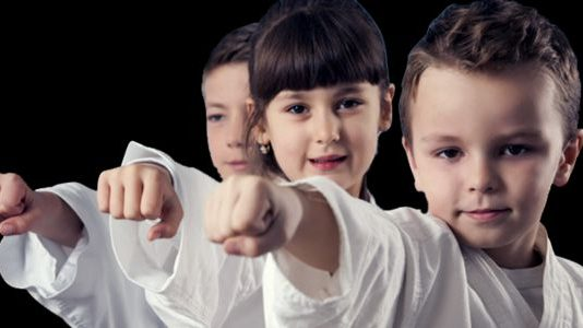 Children Practicing Martial Arts