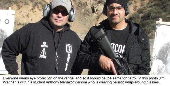 Everyone is wearing eye protection on the range.