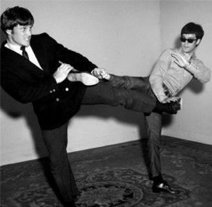 Joe Lewis and Bruce Lee Kicking