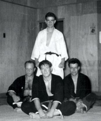George Pesare's first class of Brown Belts. Seated in the middle is Roger Carpenter, on the left is young Nick Cerio.