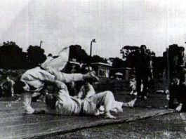 Kenshiro Abbe Sensei throwing Sensei Bill Woods
