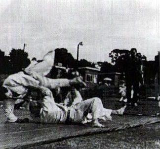 Kenshiro Abbe Sensei throwing Sensei Bill Woods