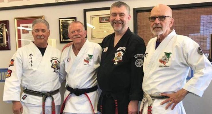 John Sepulveda, Bob White, Eddie Downey and Stephen LaBounty at Bob White Karate Studio for Bob Whites promotion.