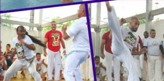 Capoeira instructors fighting to receive their belts