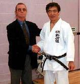 Shihan Handyside with his mentor Hirokazu Kanazawa 10th Dan IMAF