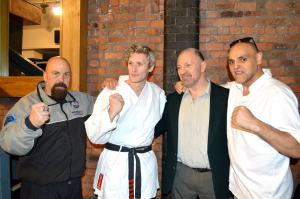Simon Keegan With Liverpool Karate masters Brian McKinley, Terry O'Neill and Alfie Lewis