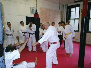 Terry Wingrove, a member of the UK's first Karate club teaching in my Dojo