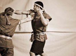 Nak Muay Farang practicing Traditional Muay Boran