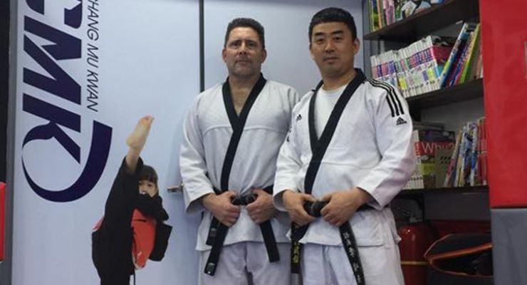 Alain Burrese and Jun-kyu Lee in Korea in 2018