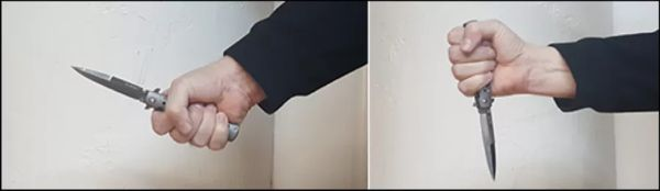 Grip Held by 3-Fingers Grip in Blade Up Orientation