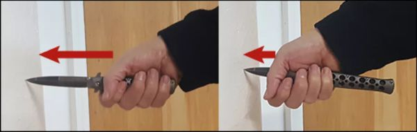 The Knife Grip - Hand Sliding Down Blade After Hitting a Hard Object
