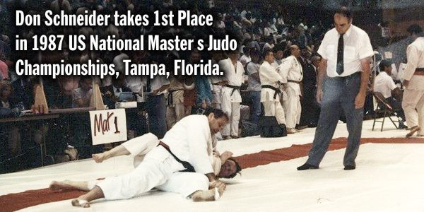 Don Schneider 1st Place in 1987 US National Master s Judo Championships, Tampa, Florida.