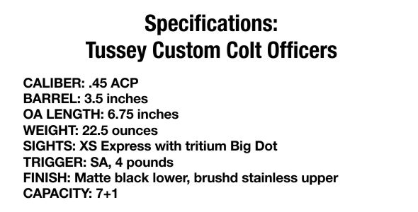 Specifications Tussey Custom Colt Officers