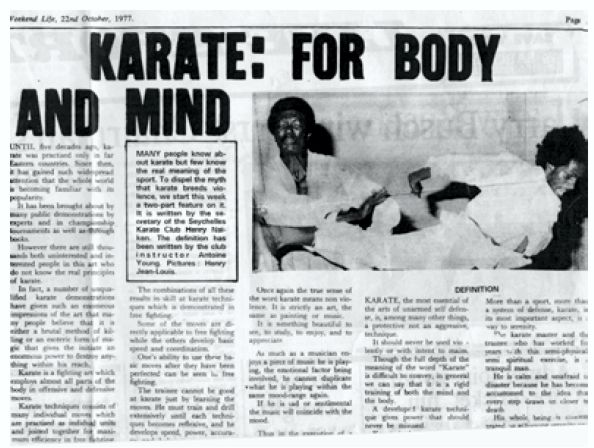 Henry Naiken's first martial arts article