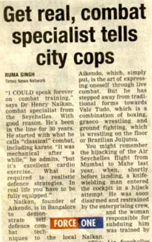 Henry Naiken Bangalore Times 2003 article