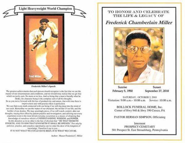 Fred Miller Celebration of Life Poster