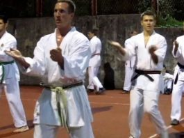 Practicing Sanchin Kata