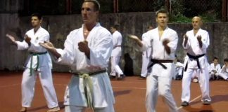 Practicing Sanchin Kata