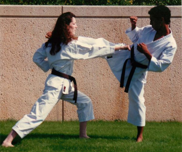 Linda and Carlos Molina practicing Kumite