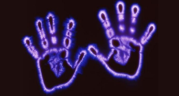 Photograph of energetic field around hands