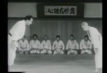 "75 year old ""God of Judo"" Kyuzo Mifune challenging students."