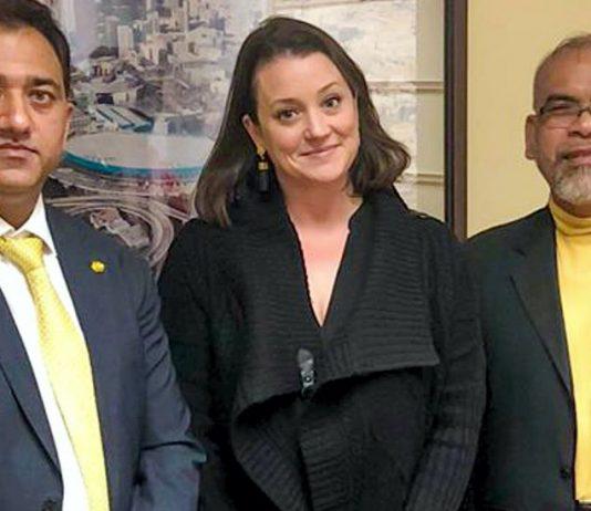 Shammi Rana with Erin Bromaghim and Osias Banaag