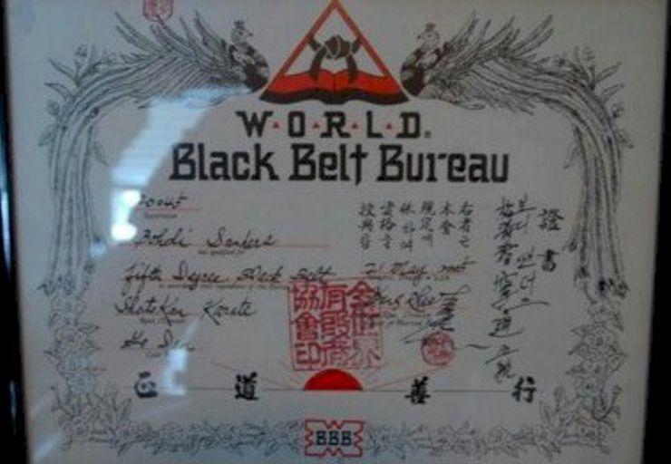 Bohdi Sanders 5th Degree World Black Belt Bureau certificate.