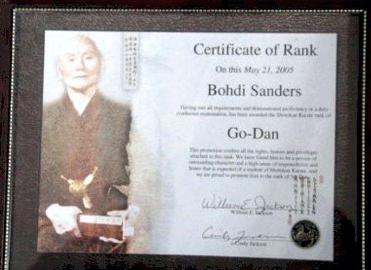 "Bohdi Sanders home-made Go-Dan Certificate from ""William Jackson""."