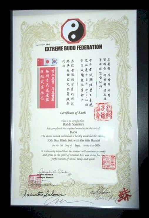 Bohdi Sanders 10th degree Black Belt from the Extreme Budo Federation.