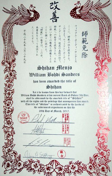 Bohdi Sanders Shihan Certificate