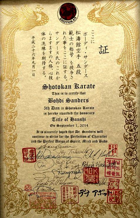 """Bohdi Sanders """"replacement"""" hanshi certificate."""