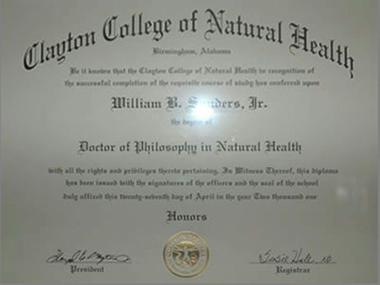 William B. Sanders Clayton College of Natural Health Certificate