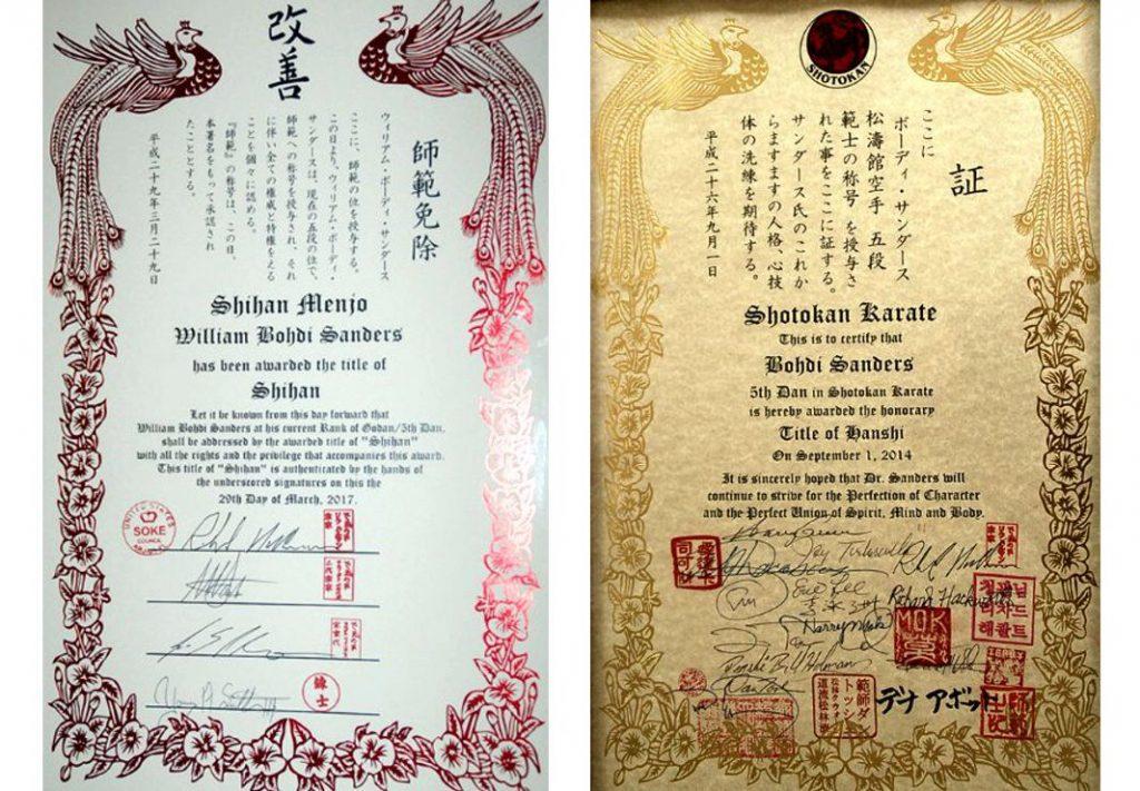 Bohdi Sanders Shihan and Hanshi Certificates
