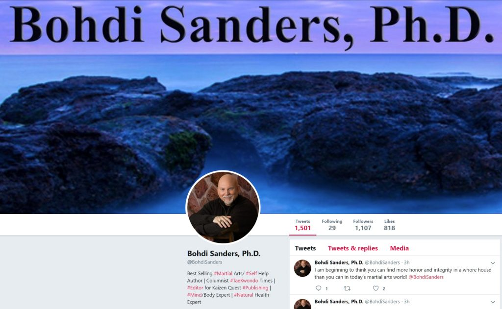 Bohdi Sanders Tweet about martial arts honor and integrity - 02-10-2019.