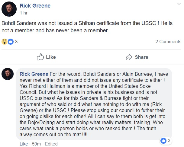 Rick Green Facebook post about Bohdi Sanders