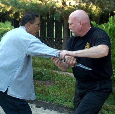 "Al Dacascos and Bohdi ""training"" in Bohdi's yard."
