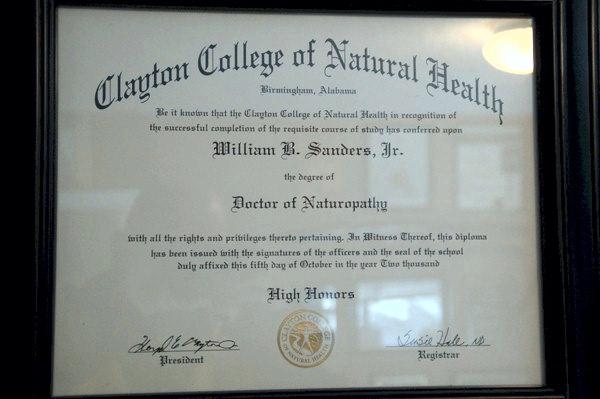 Bohdi Sanders Dr. of Naturopathy Certificate