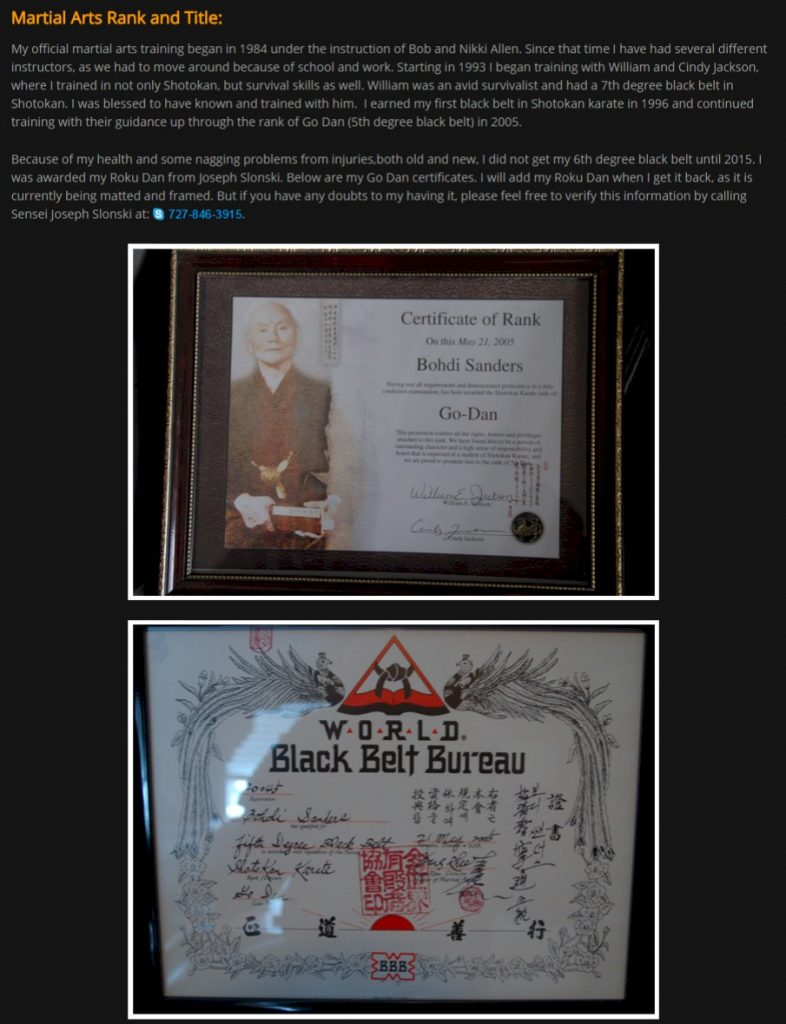 Bohdi Sanders Fraudulent 5th Dan Certificates