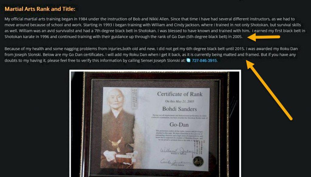 Bohdi Sanders fake martial arts degrees