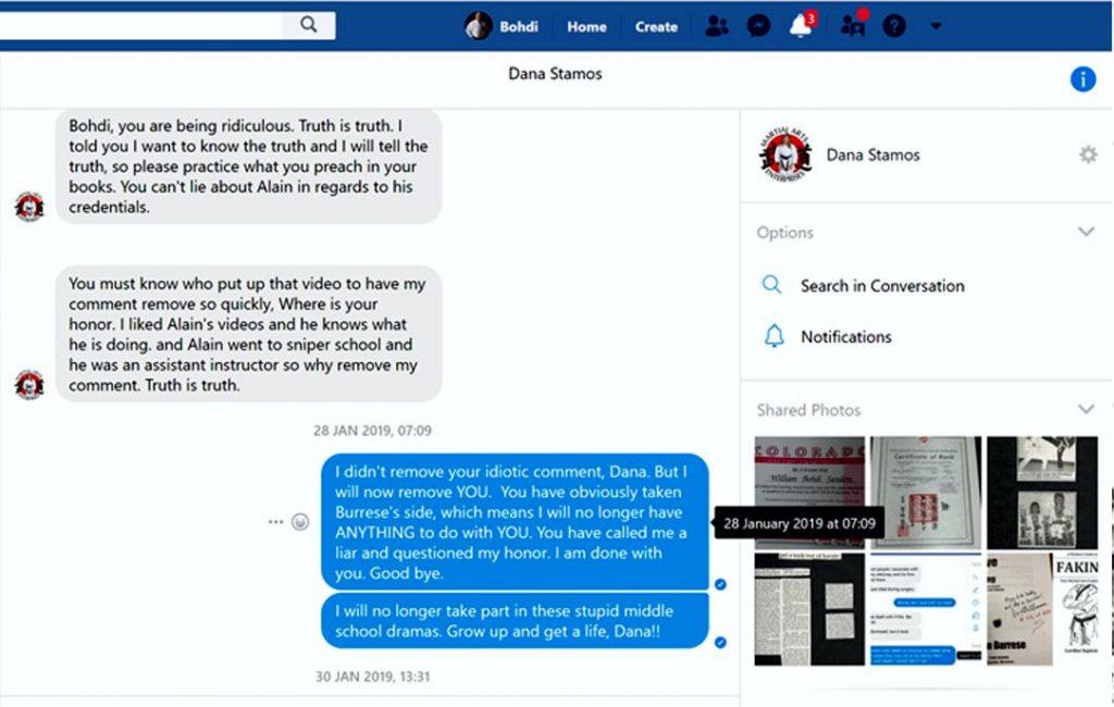 Bohdi Sanders Proof of documents sent to Dana Stamos at Martial Arts Enterprises.