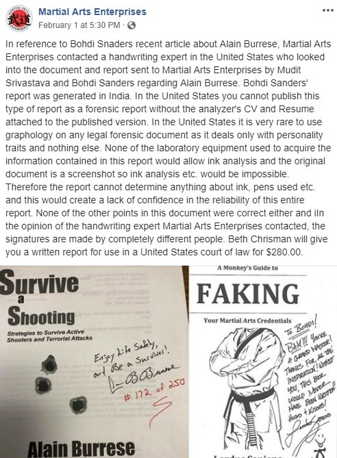 Martial Arts Enterprises' post about the fake handwriting analysis.