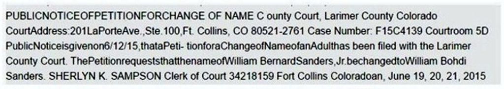 William Bernard Sanders name change to William Bohdi Sanders in 2015.